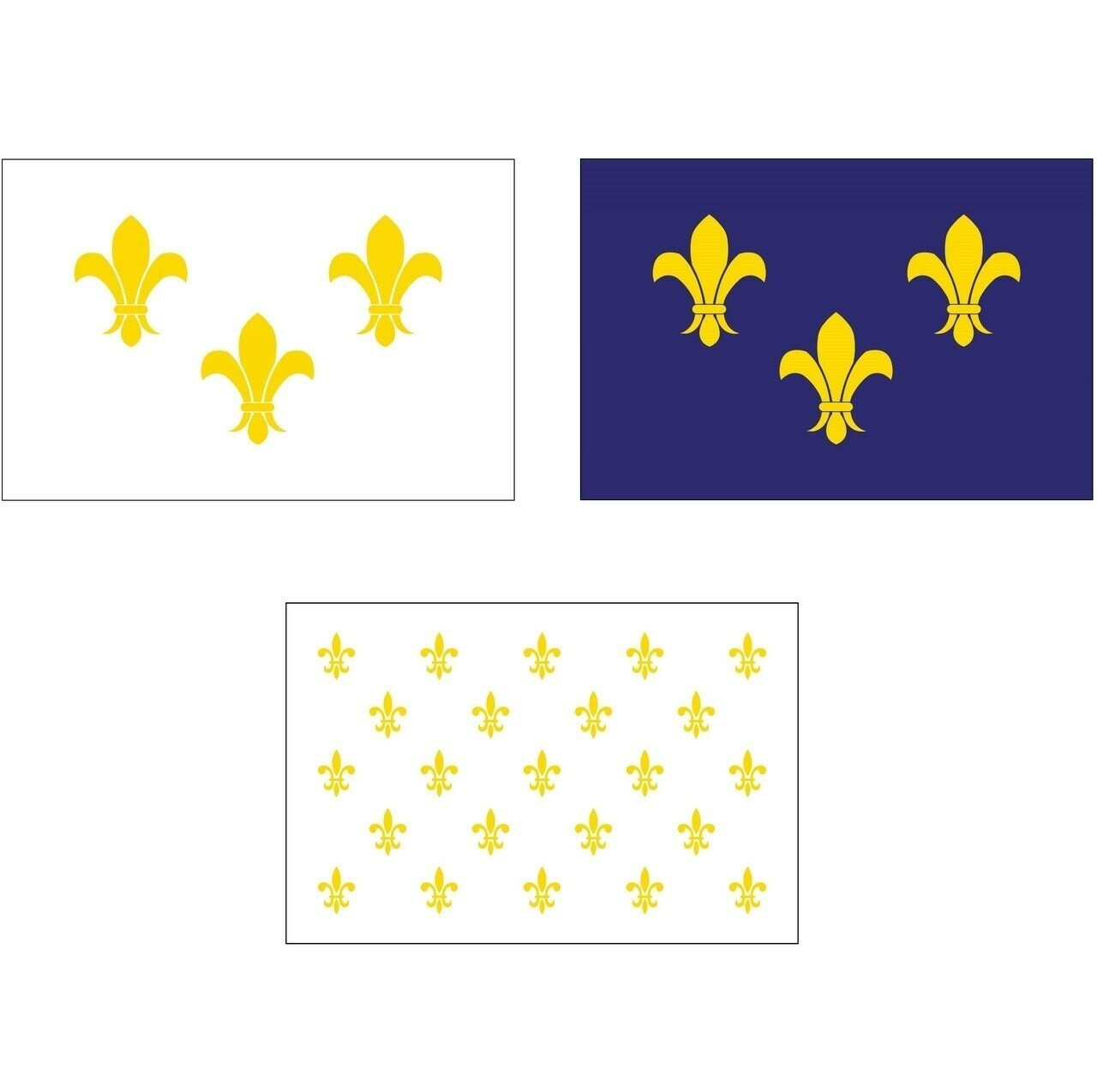 Nylon fleur-de-lis flag, available in three designs. The first design features a blue background with three golden yellow fleur-de-lis lily flowers at center. The second option features a white background with three golden yellow fleur-de-lis lily flowers at center. The third option features a white backdrop with 23 golden yellow fleur-de-lis flowers at center. Along the mounting side of the flag is a canvas header with brass grommets for attaching the flag to a flagpole with snaps or hooks.