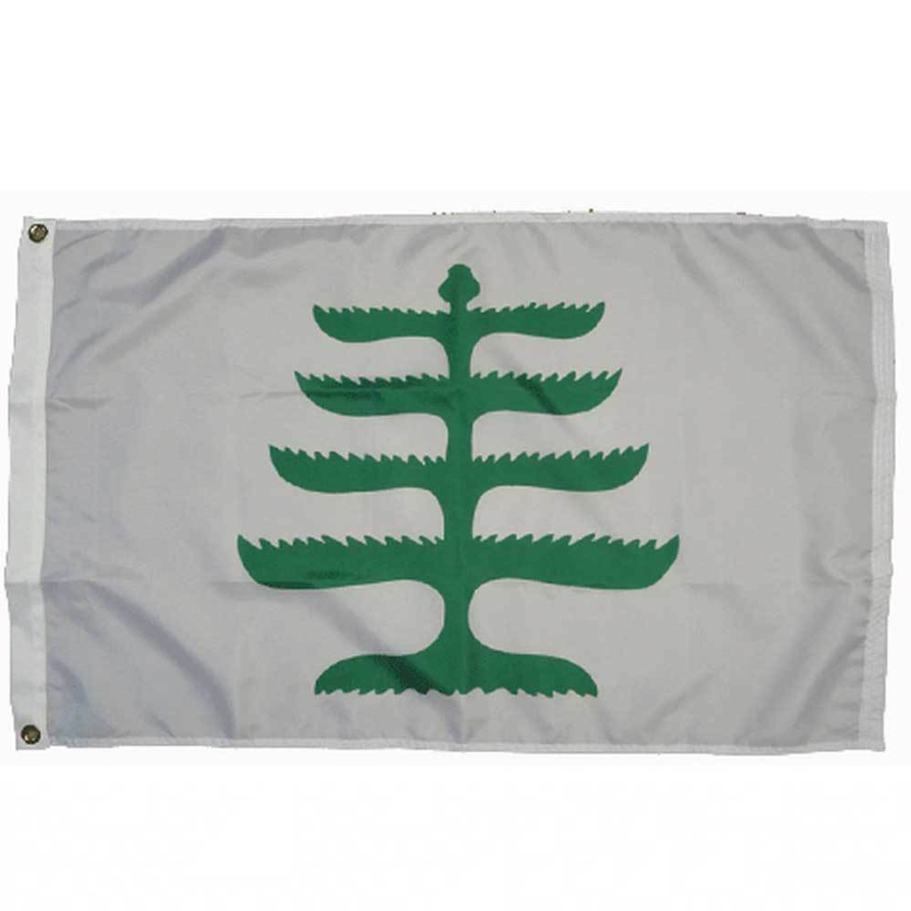 The New England Pine Tree flag consists of a white background with a stylized New England white pine in green centered. On the flag's left side is a sturdy canvas header with brass grommets for easy and secure attachment to flagpoles.