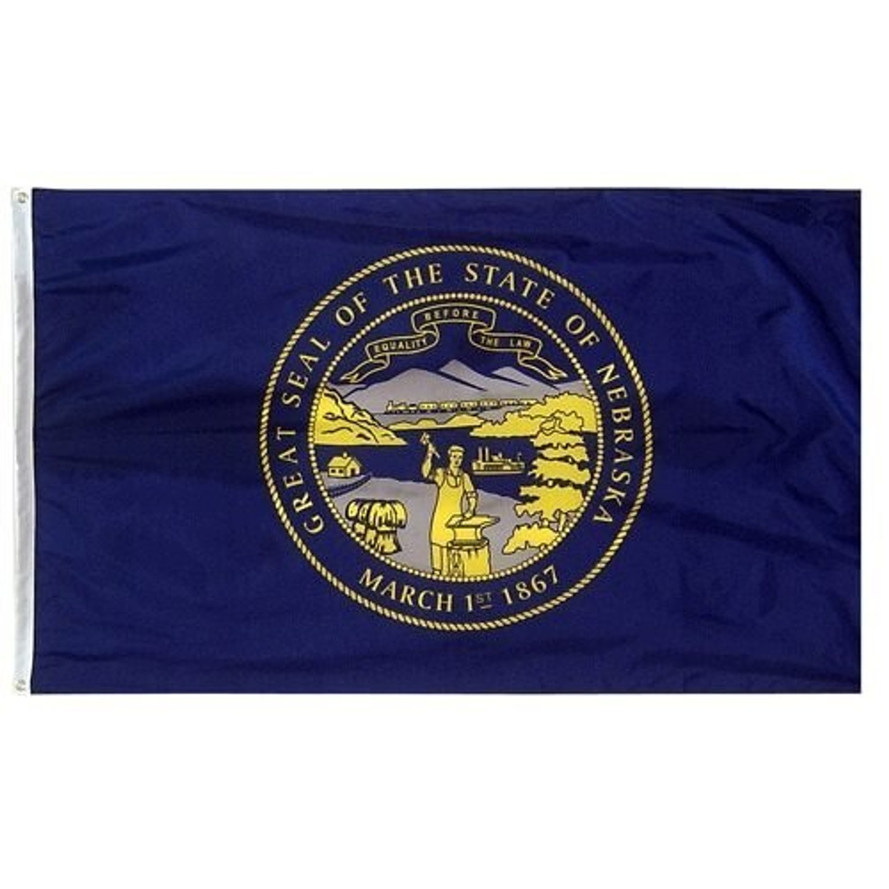 Navy blue Nebraska Flag with gold and silver state seal in the middle.