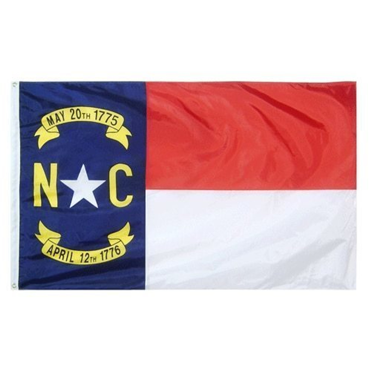 "The North Carolina flag is a rectangular flag with a white canvas header and brass grommets. The flag is split into three sections. The left side of the flag consists of a blue vertical rectangle with ""May 20th, 1775"" in a yellow banner on the top, the letters N and C in yellow with a white star in between them in the middle, and ""April 12th, 1776"" in a yellow banner on the bottom. This section takes up one third of the flag. The other two thirds of the flag are split in half horizontally. The top half is red, and the bottom half is white."
