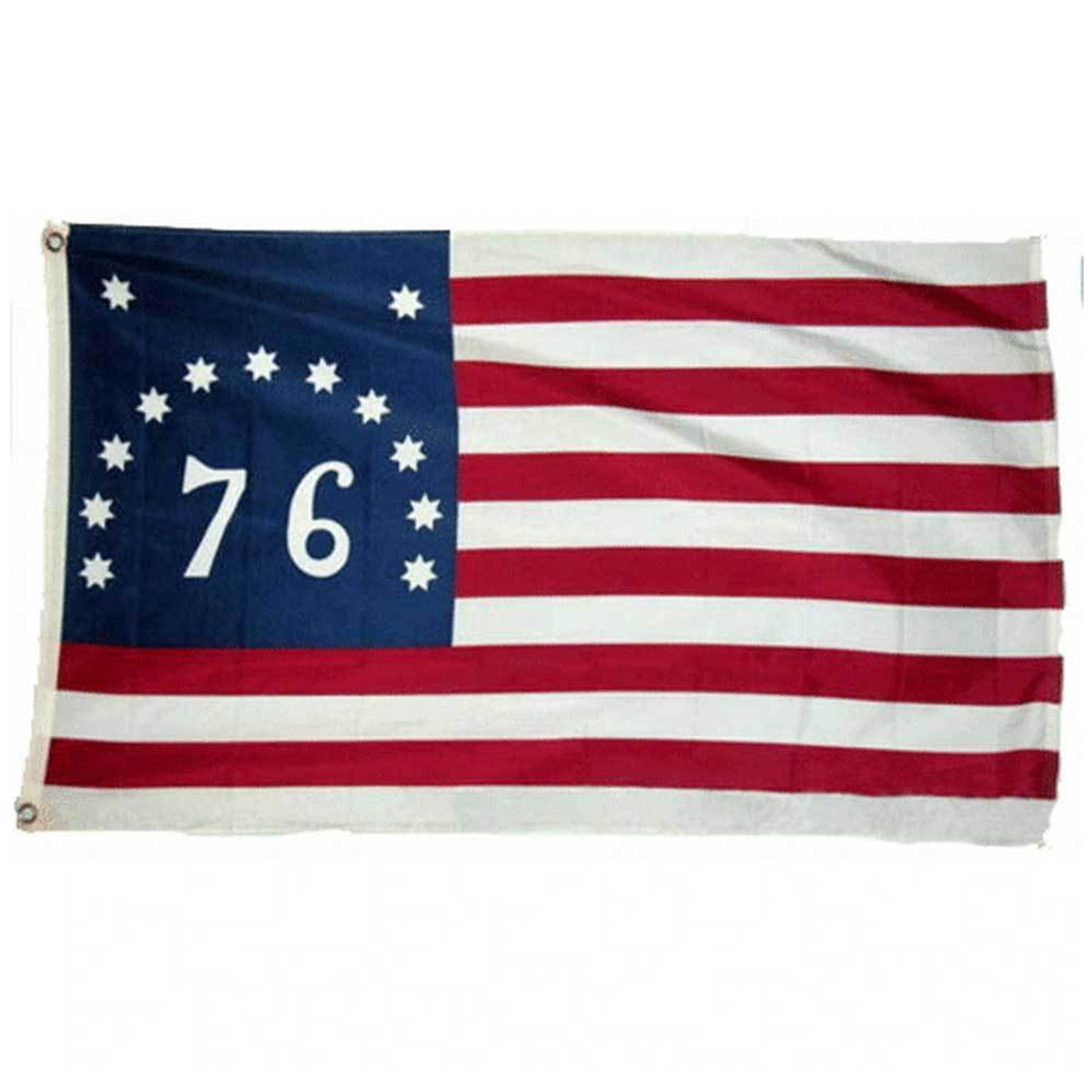 """The Bennington flag feature 13 alternating stripes of white and red with a large blue canton in the top left corner with 11 6-pointed white stars arranged in an arc with 2 additional stars above. Inside the arc is white text reading """"76"""". On the left of the flag is a durable canvas header with brass grommets for attaching to a flagpole."""