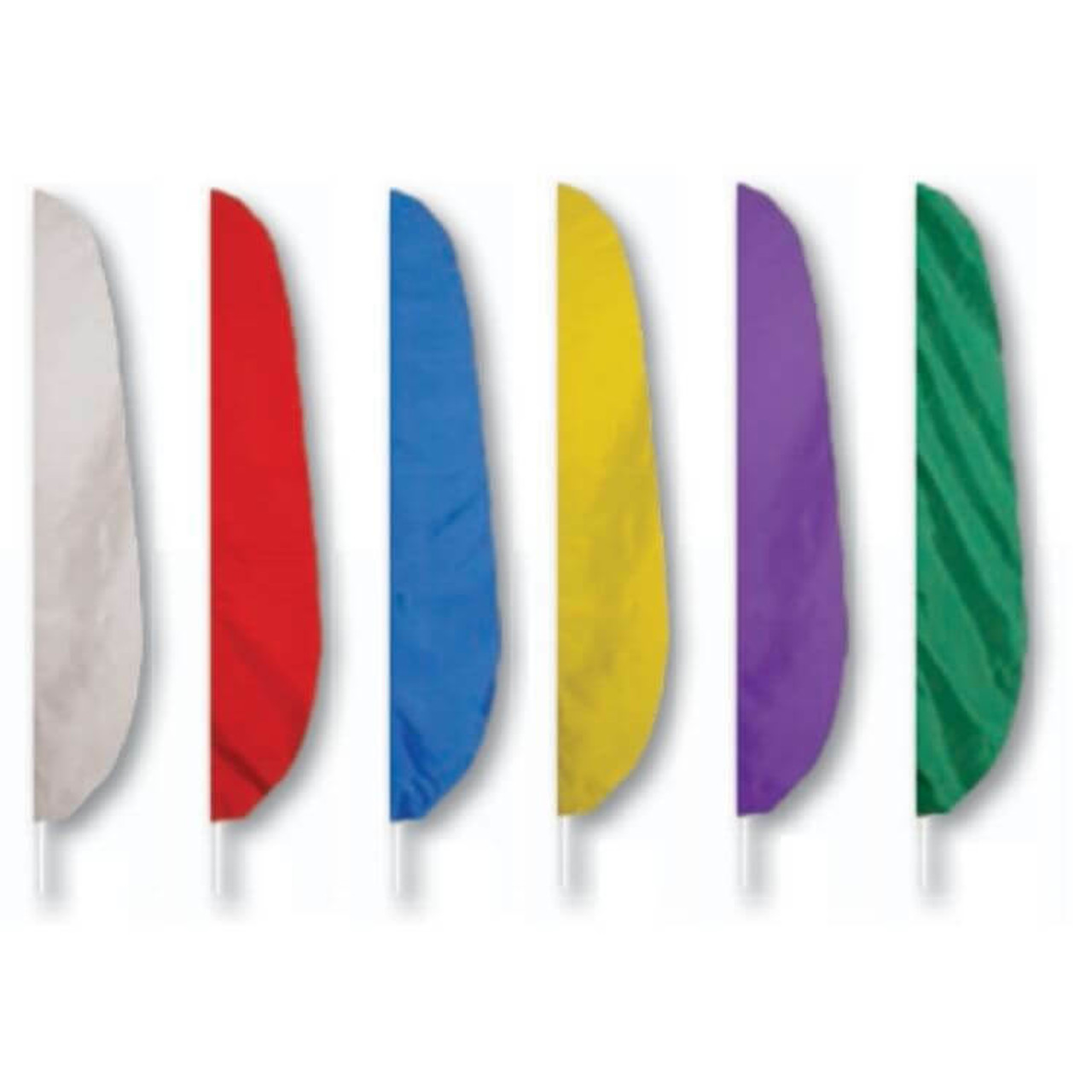 Feather flags, 12' tall, available in white, red, blue, yellow, purple, and green. These flags are shown flying on flagpoles with a white background.