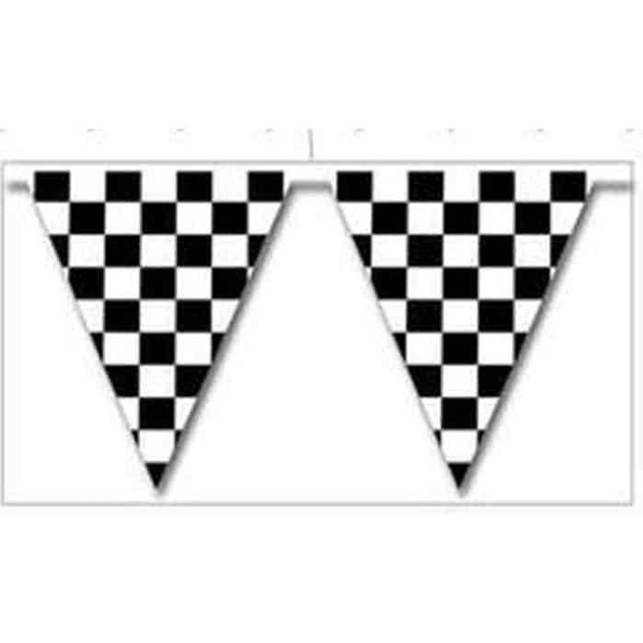 Black and White Checkered Triangle Pennants 105ft