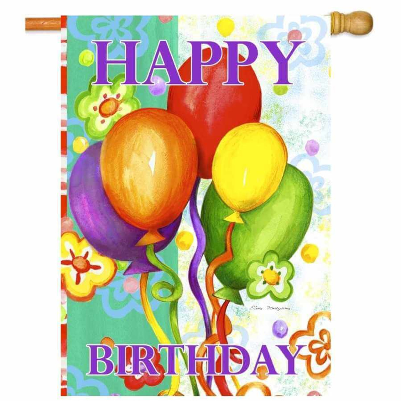 """A Birthday Flag that has multi-colored balloons in the middle with a background that is white and light green with flowers. On top is the word """"Happy"""" and on bottom is the word """"Birthday."""""""