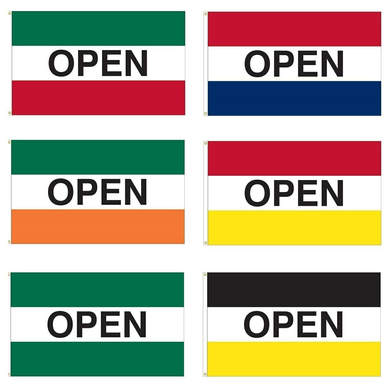 """These open flags each have three horizontal stripes in a variety of colors with black text reading """"Open"""" in its center. Each open flag also has a canvas header with brass grommets for attachment to flagpoles."""