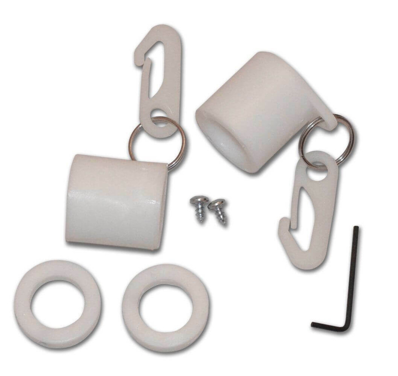 The Non-Tangle Kit is made of thick white plastic. Each kit includes two 2 inch sleeves that slide and move freely on flagpole with plastic clips attached by a metal ring, two white rings to stabilize the free moving sleeves, as well as two silver screws and an Allen wrench.