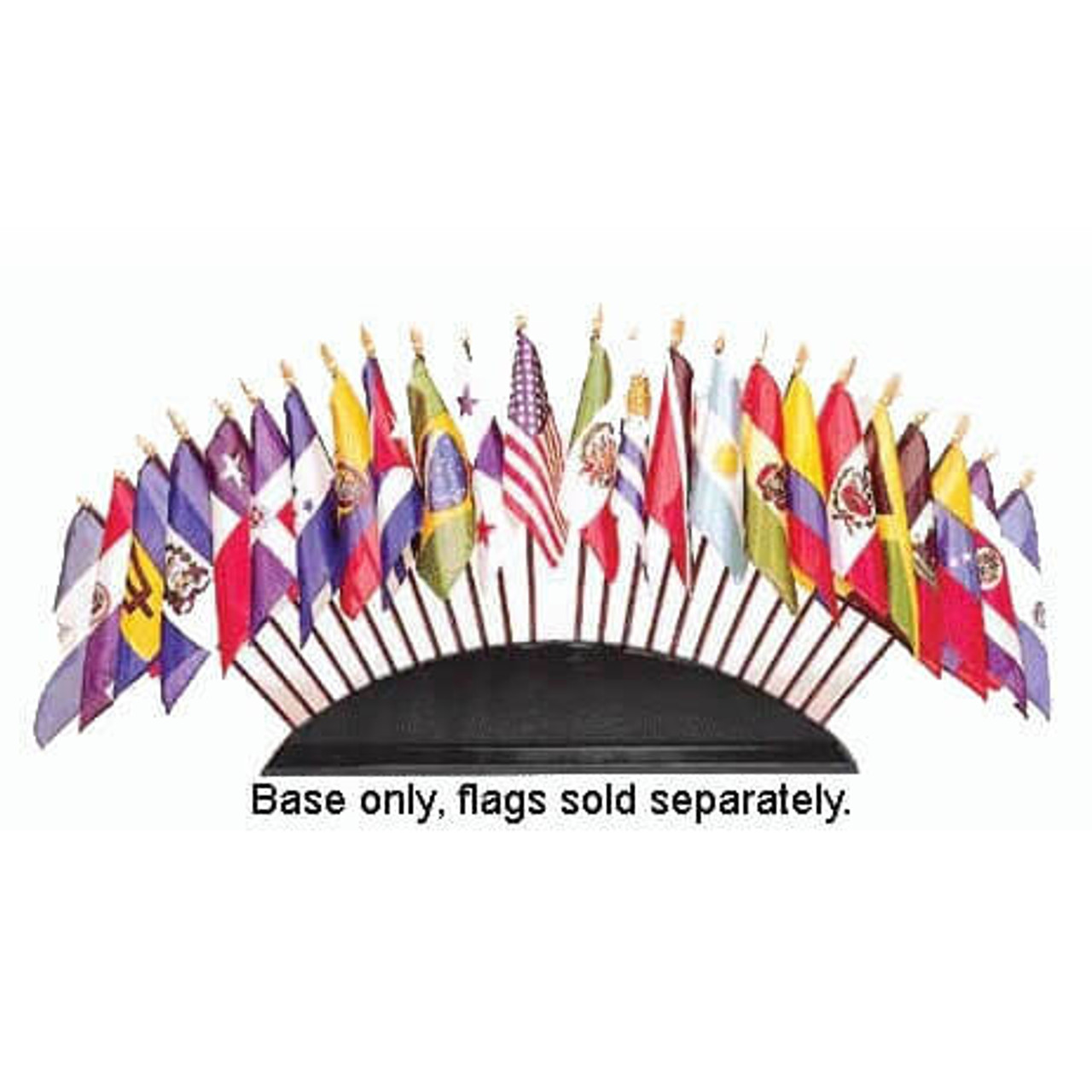 Organization of American States Wood Base. Different country flags are displayed on wood base. Black text at center that reads 'Base only, flags sold separately.'