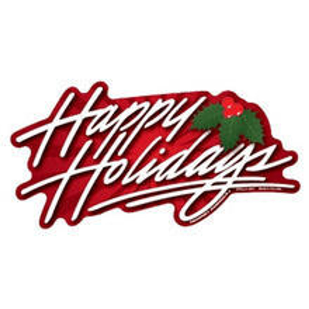 A Happy Holidays Magnet printed on vinyl and backed with .30 mil magnetic material. Design says happy holidays in white cursive text, with a red border and a mistletoe image.