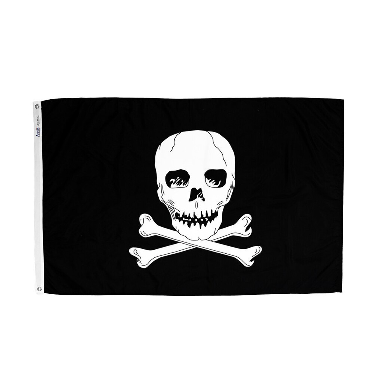 Jolly Roger pirate flag, with white skull-and-crossbones emblazoned on a solid black background. Along one end of the flag is a canvas header with brass grommets for attaching the flag to a flagpole with snaps or hooks.