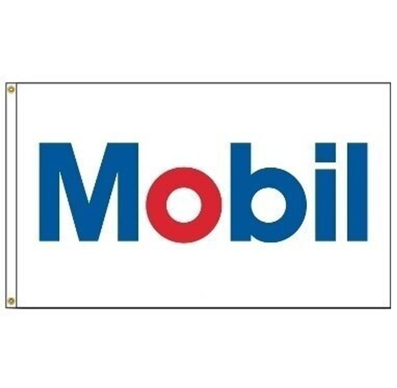 The image displays the Mobil Oil Corporation flag. The flag has a white background with a the text 'Mobil' written on the center. The letters are in blue with the exception of the letter 'O' which is in red.