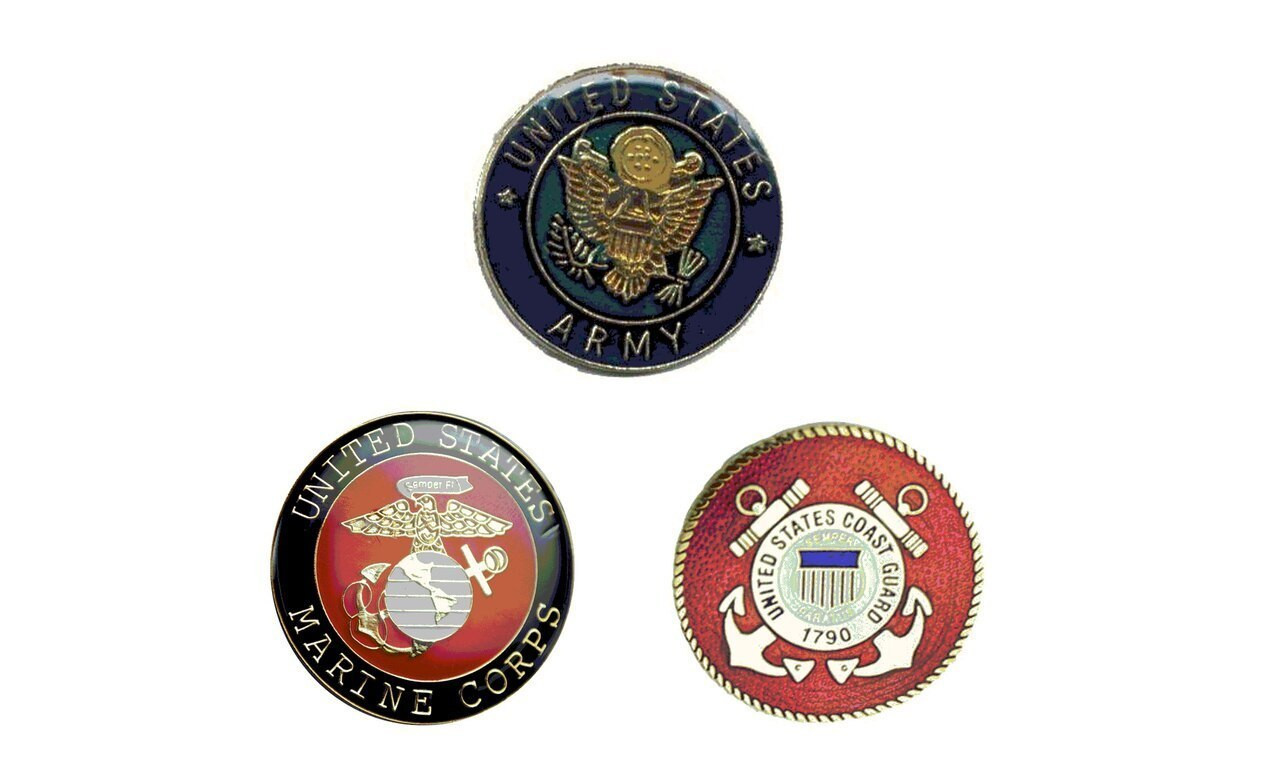 Armed Forces Lapel Pins including United States Army, U.S. Coast Guard, and U.S. Marine Corps