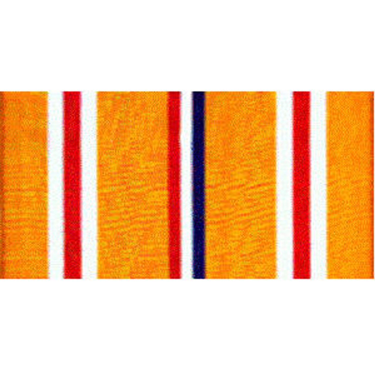 Asiatic Pacific Campaign Streamer. Orange, white, and red stripes with blue stripe at center.
