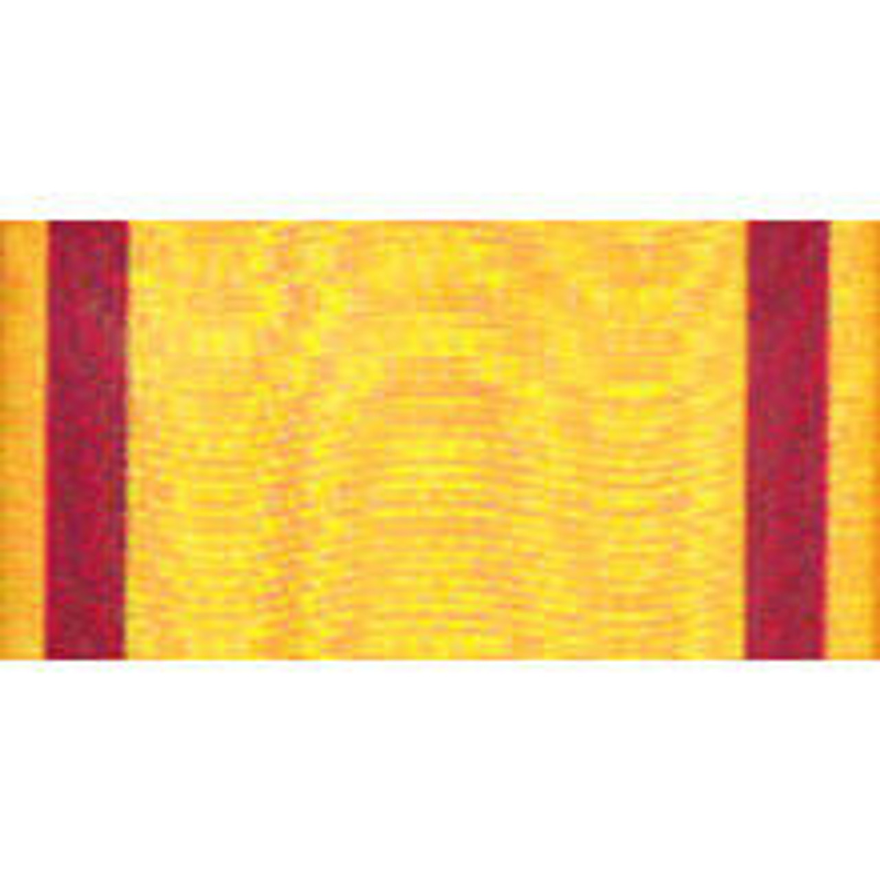 A gold rayon streamer with two vertical red stripes on both sides with a grommet on the top.