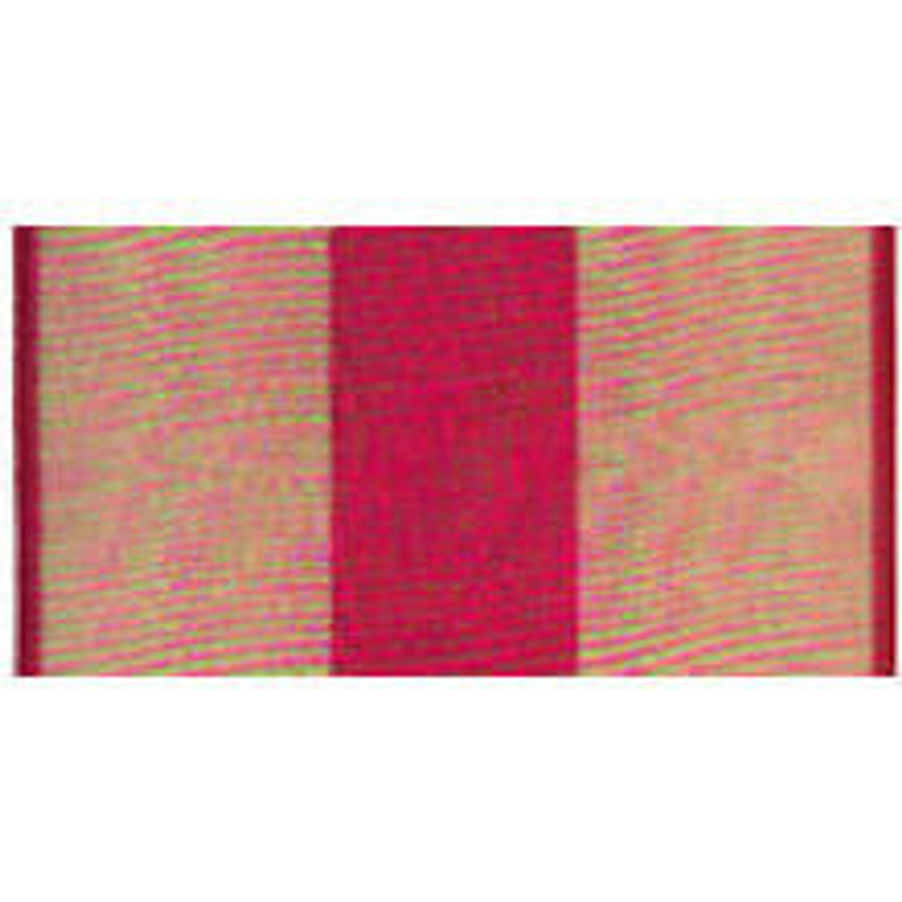 Marine Corps Expeditionary Streamer made of rayon with grommet or sleeve at top. Design is a central red vertical rectangle and 2 larger gold rectangles on either side bordered by 2 thing vertical red lines.