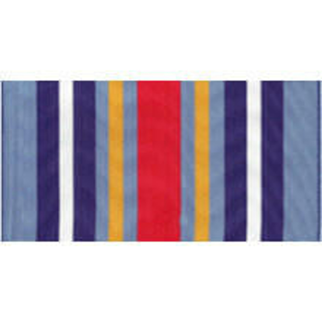 A rayon streamer with a vertical stripe design of light blue, dark blue with a white stripe inside, blue with a gold stripe inside, and a red stripe mirrored on both sides.