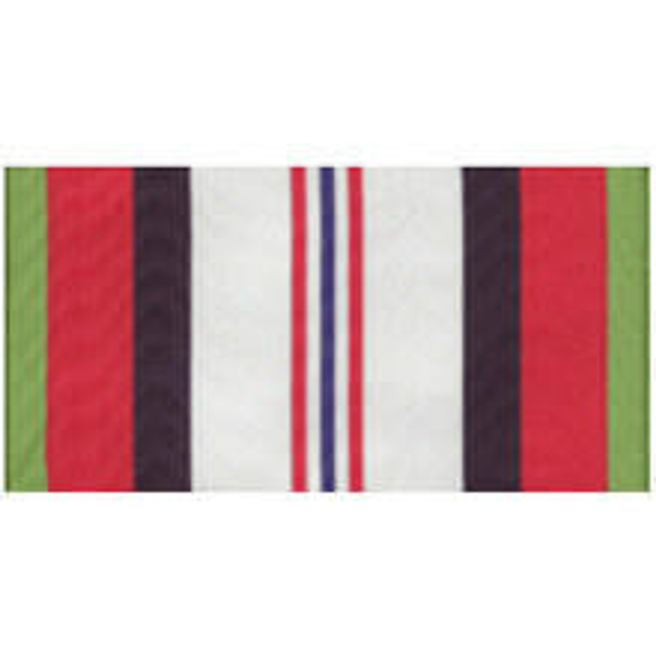 An Afghanistan Campaign Streamer made of rayon with grommet or sleeve at top. Designed with a central white vertical rectangle. Inside central thin blue line with two thin red lines on both sides. Bordered by a thin green line, a red vertical rectangle, and a thick black line which is mirrored on both sides