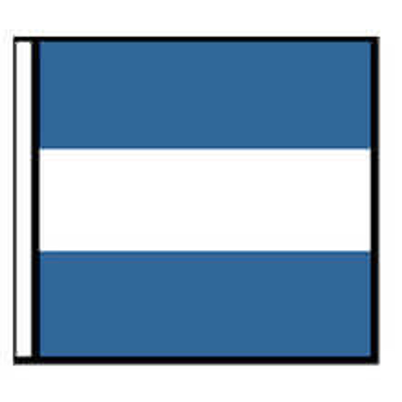 A illustration of a flag with a blue background and a wide horizontal white stripe.