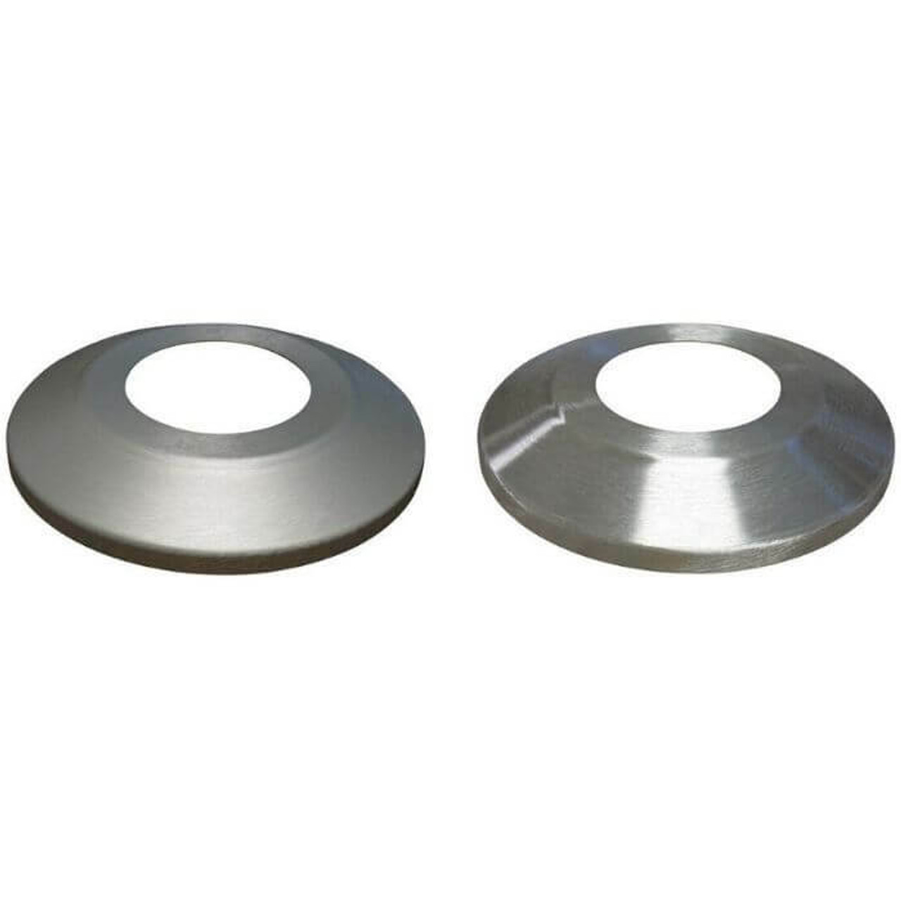 Two round pieces of aluminum with holes in them. Flash collars cover the base of a flagpole, where it was buried in the ground, to make it more attractive. On has a matte finish and the other a glossy.