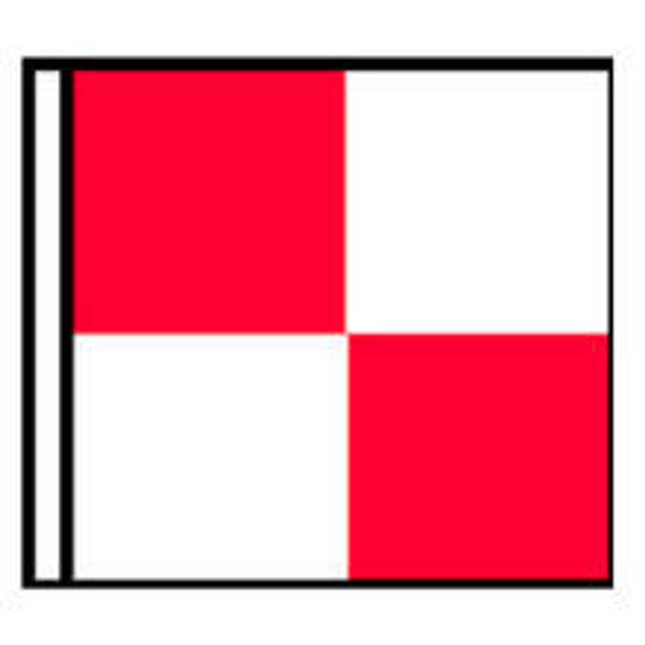An illustration of a flag with four squares in a checkerboard pattern with the top left and bottom right being red and the tip right and bottom left being white.