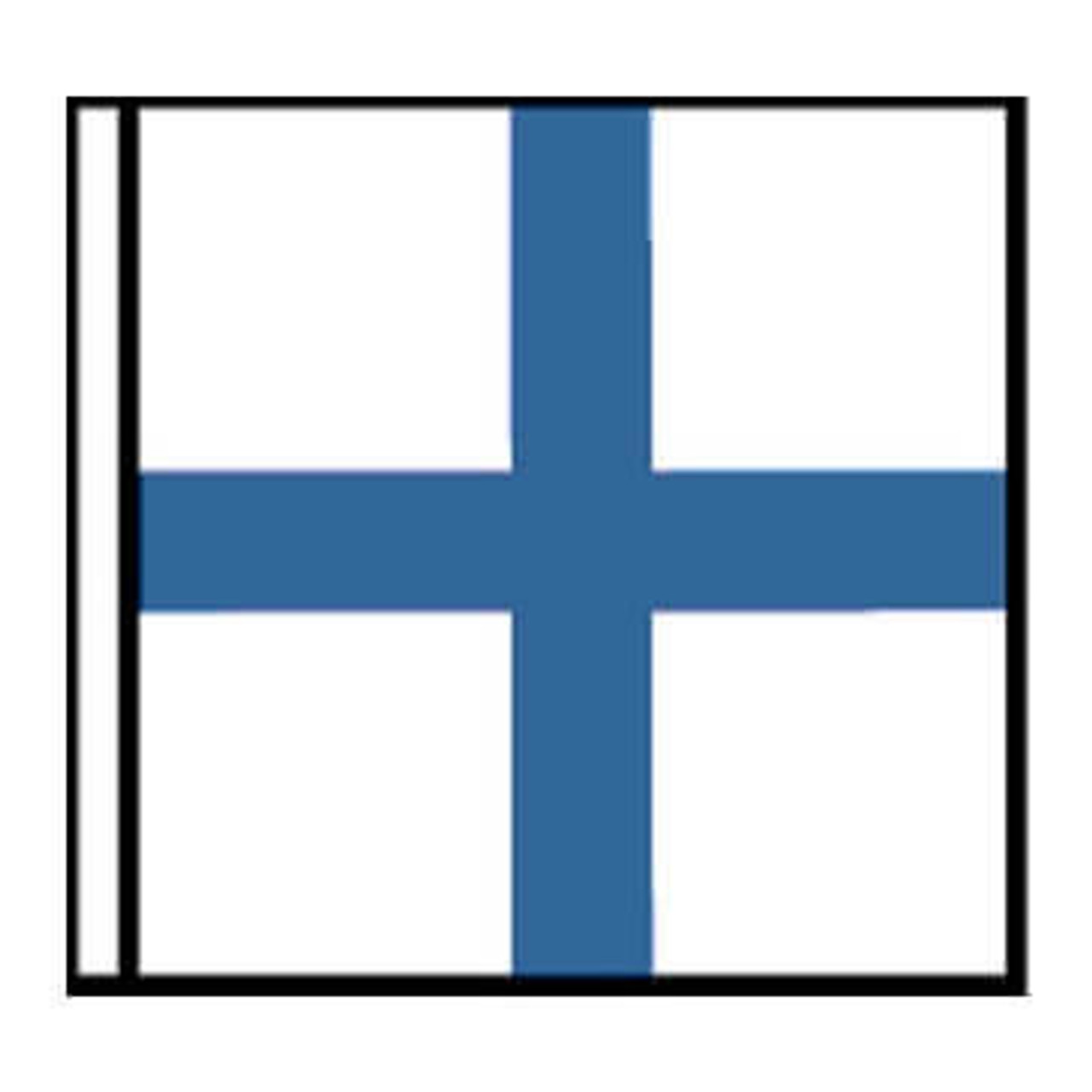 X-Ray Stop your Intention Marine signal flag with white header.  White squared flag with a vertical and horizontal blue line at center.