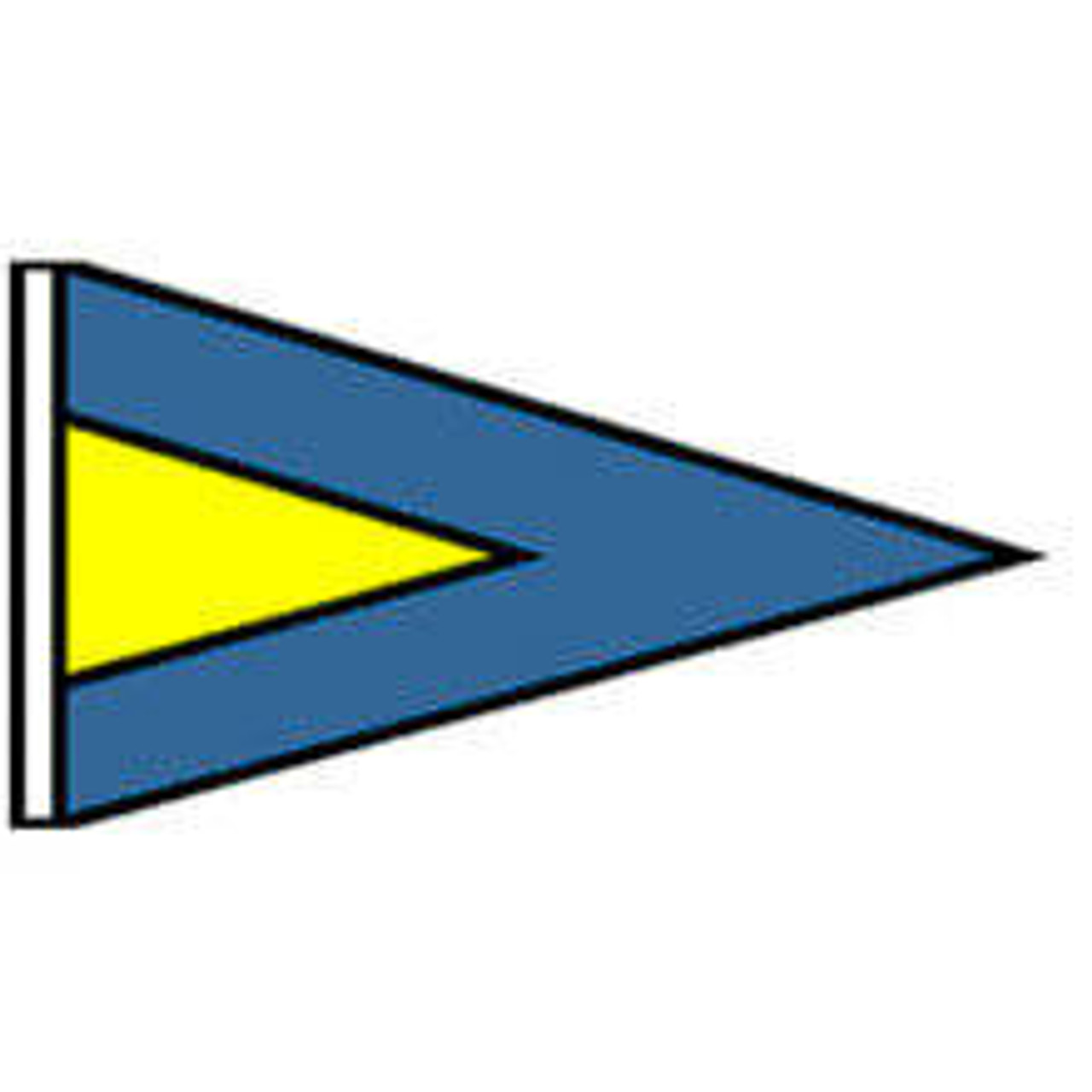 An isosceles triangle flag with a dark blue background and a smaller yellow triangle on the inside left.