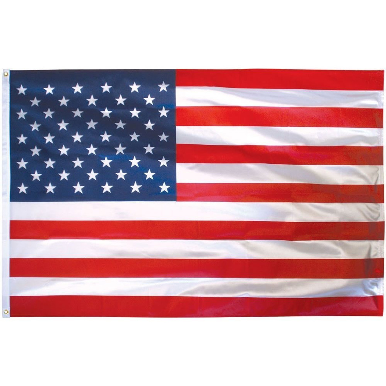 The nautical American flag is essentially the standard American flag, with 50 bright white embroidered stars on a blue background, and thirteen red-and-white lock-stitched sewn stripes. The flag is reinforced with lock-stitching and a white canvas header.