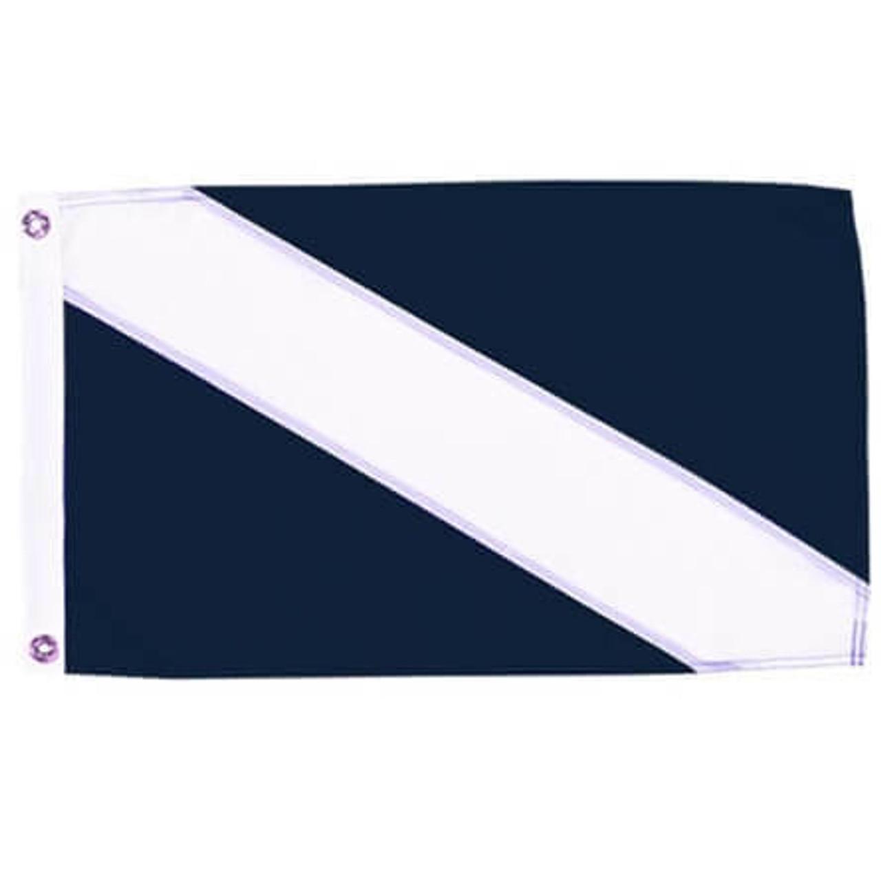 A blue rectangular flag Guest Flag with a diagonal white stripe