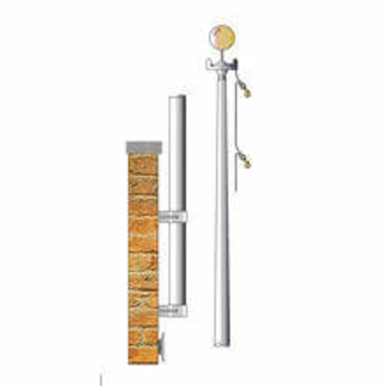 Design of a 12 Vertical Wall Mounted Flagpole EVW12 with a metallic pole mounted to a brick wall next to a metallic pole with a halyard attached to a truck and a gold finial.