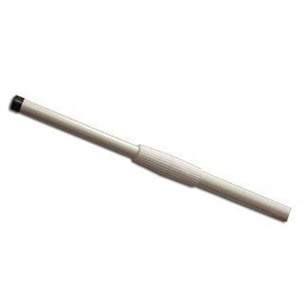 The telescoping fiberglass flagpole, fully contracted, complete with top cap and adjustable telescoping grip.