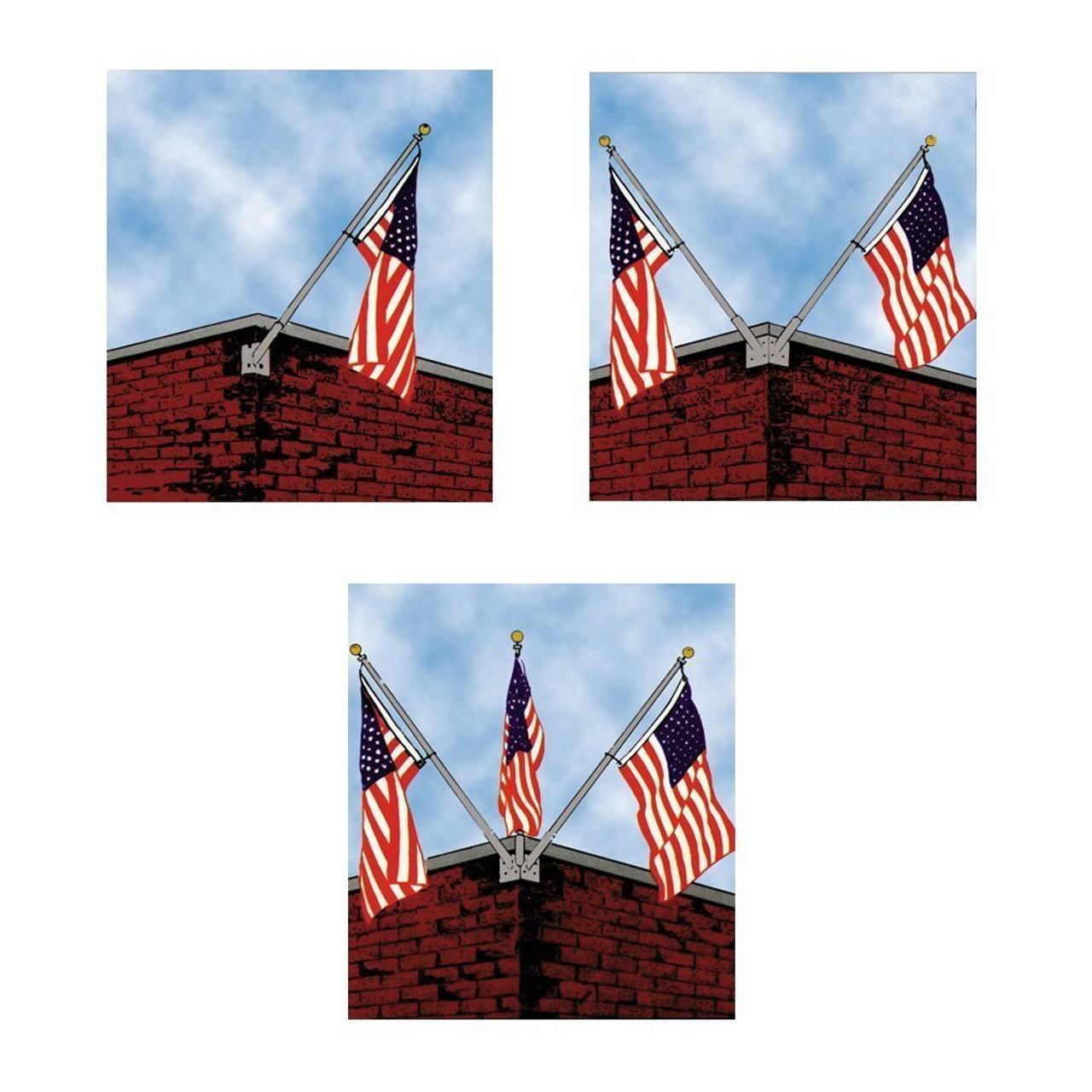 10 Corner Wall Mounted Flagpole