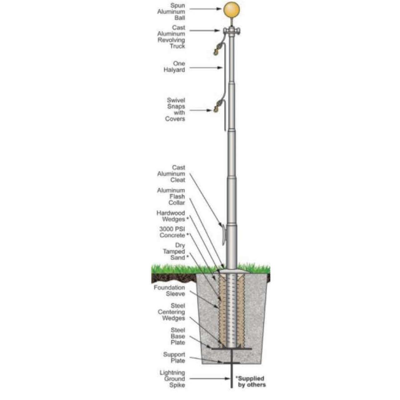 20 Fiberglass External Halyard Flagpole w/ Collar FGR20