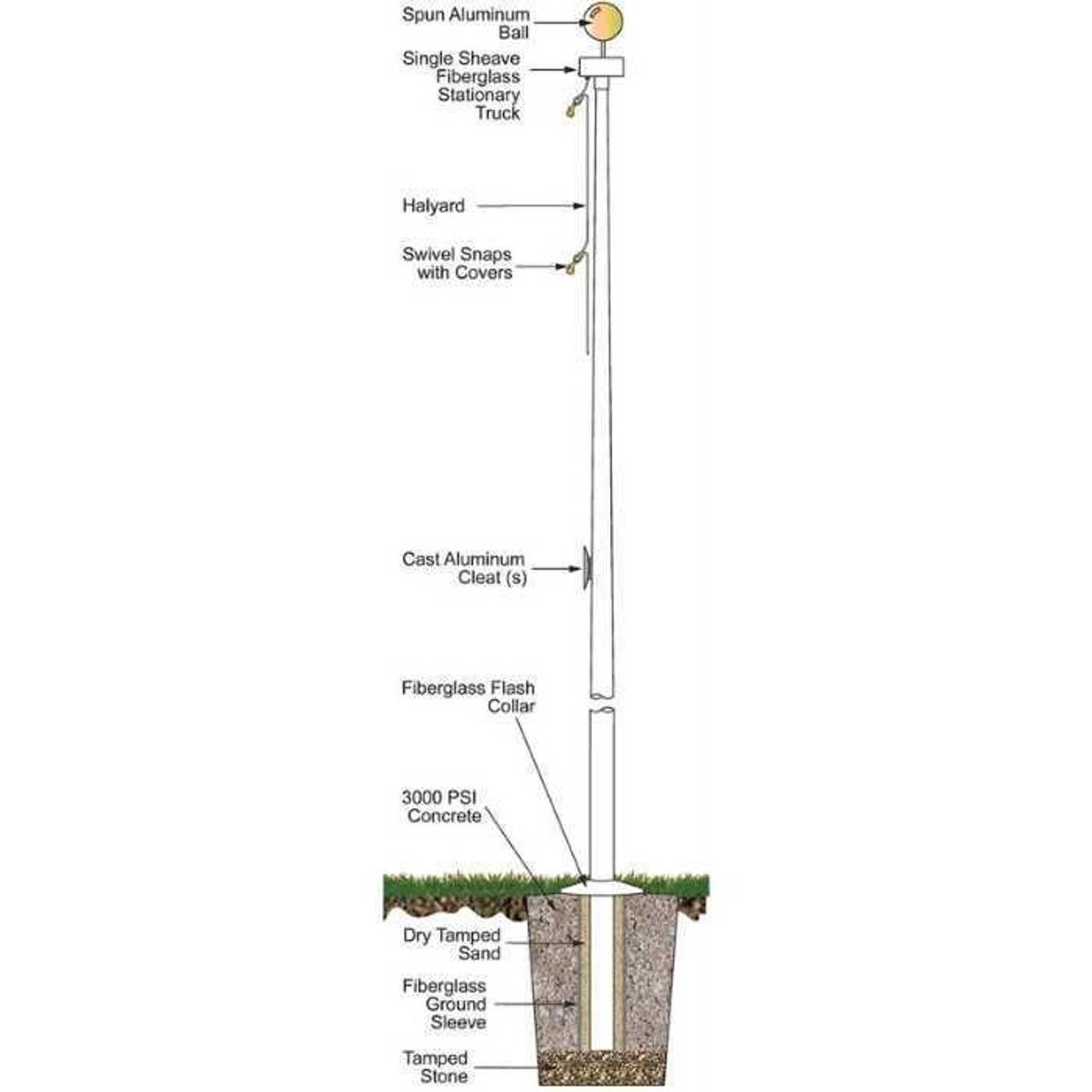 25 Fiberglass External Halyard Flagpole w/ Collar FGR25