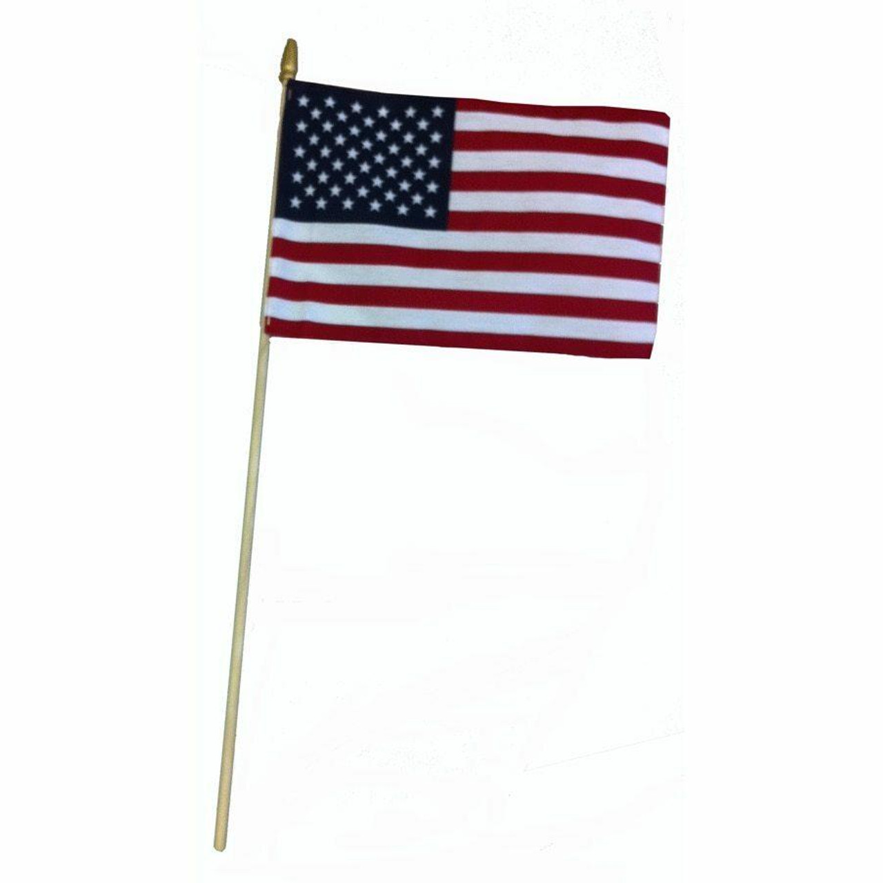 A small American flag stapled to a wooden staff with a gold-painted spear at the top of the staff. The flag is a rectangle with a smaller dark blue rectangle in the top left corner with 50 small white stars printed throughout. The rest of the larger rectangle has 13 stripes that alternate between red and white, starting with a red stripe. The staff is made of a natural wood that is light in color, with a wooden spear adorned to the top and painted gold.