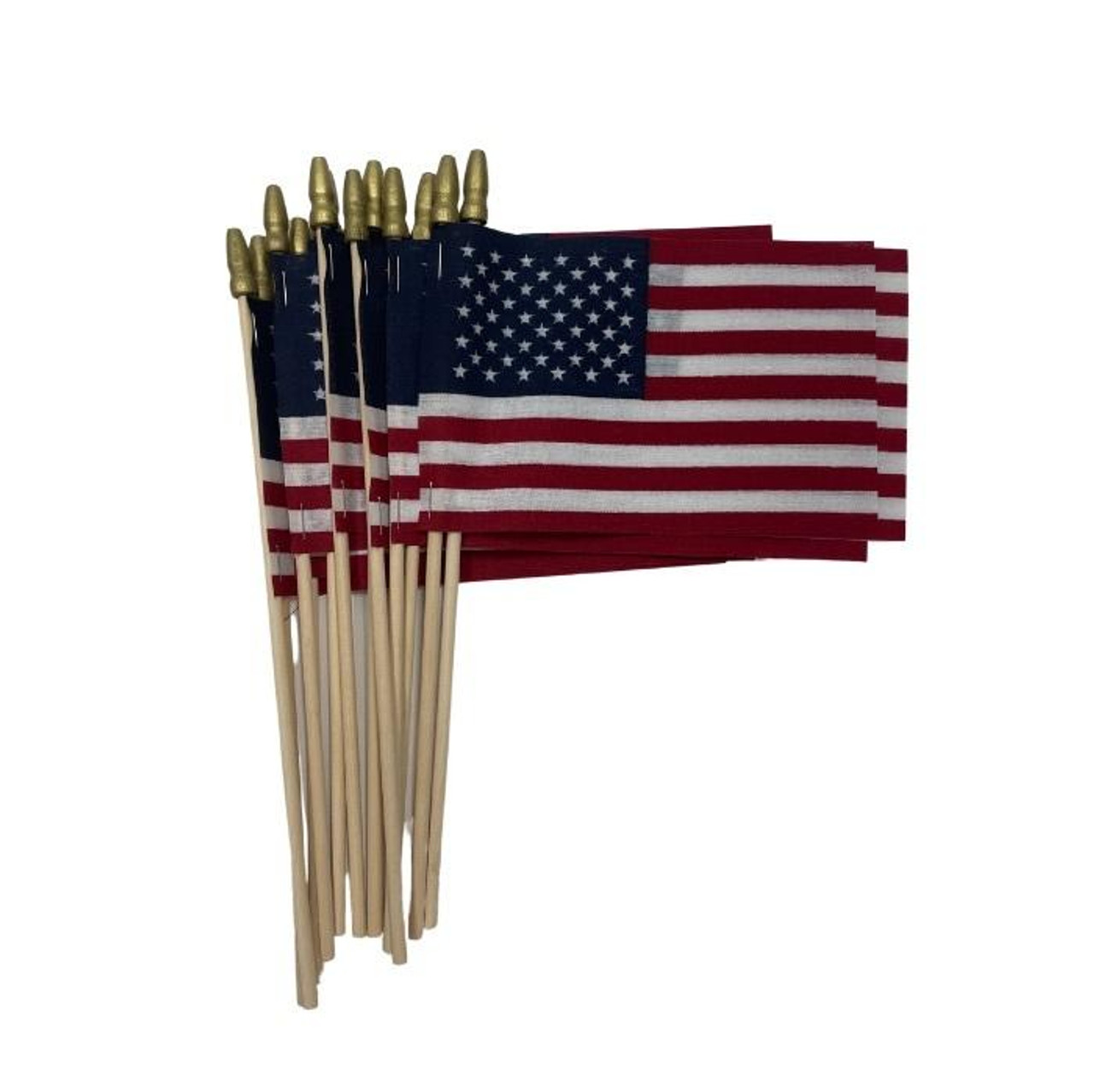 """A dozen small 4"""" x 6"""" stick flags with a non-fraying finish on a light wood staff."""