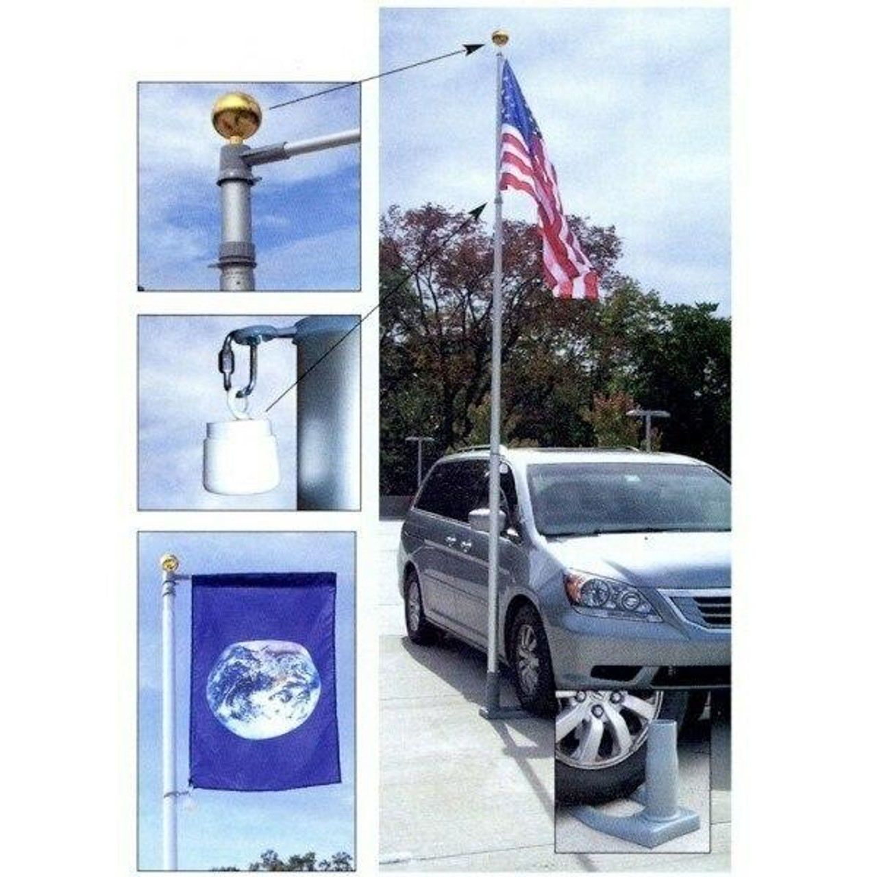 Multiple photos are included. On the right is the primary photo, with the 19' telescoping flagpole inserted in the included wheel stand, which is safely parked under a car's tire. An American flag hangs off the flagpole. In the top left of this image is a small photo with an arrow pointing to the top of the flagpole, showing a zoomed-in detail photo of the golden aluminum ball capping the flagpole. In the bottom left corner is a detail photo with the flag with a banner, showing off the included 3' banner arm.