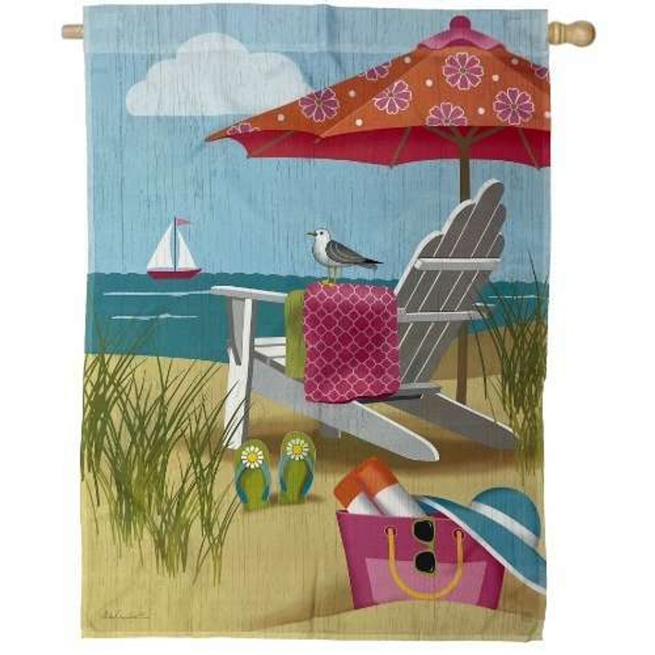 Better at the Beach House Flag with seagull, sand, and ocean, and sailboat background