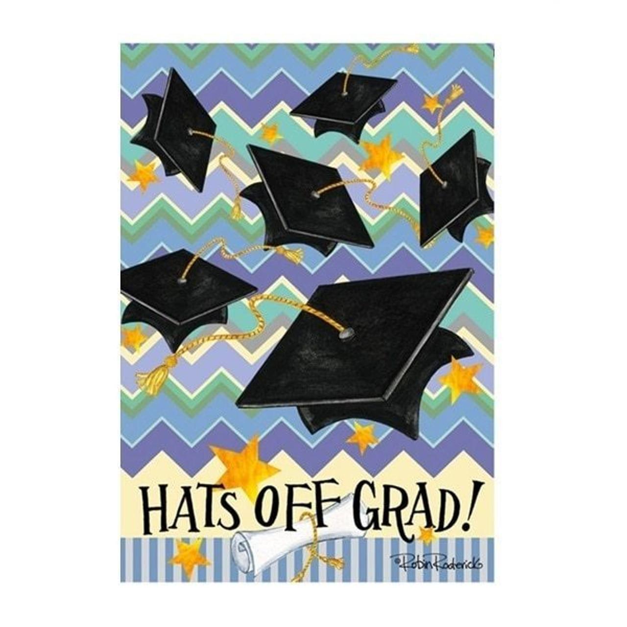 Hats Off Grad Garden Flag