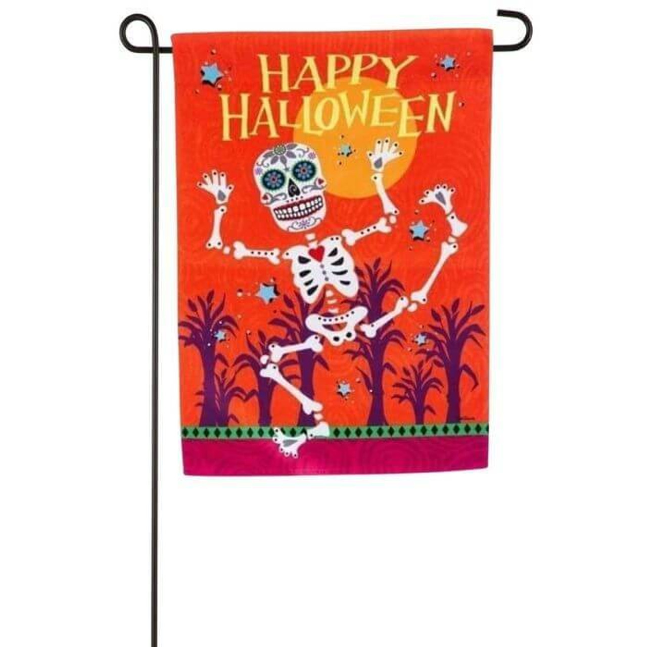 """Small garden flag about a foot wide and a foot and a half tall. Flag is mostly bright orange with a skeleton dancing around under a yellow moon. At the top of the flag reads """"Happy Halloween"""" in all caps."""