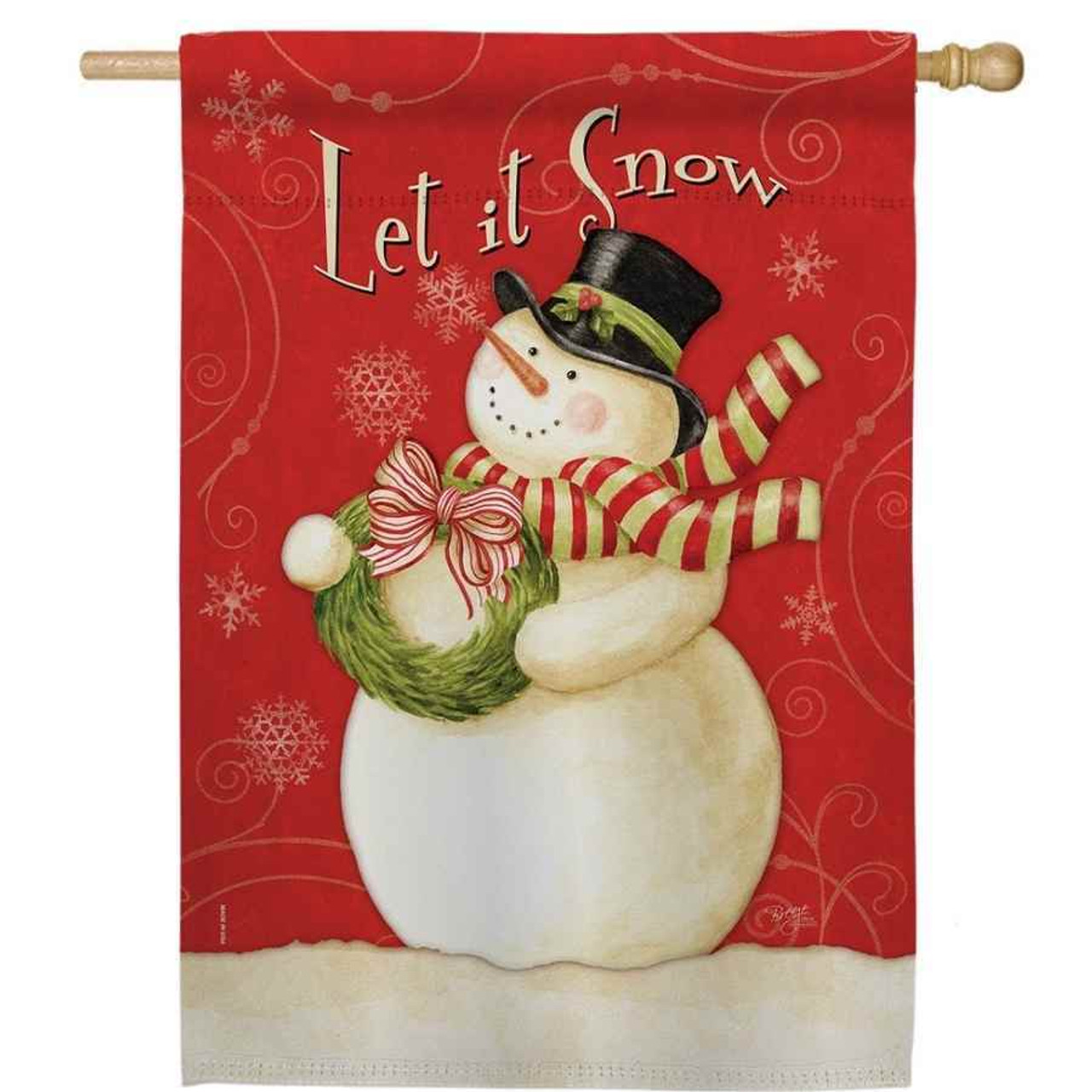 """A house flag featuring a snowman wearing a top hat and scarf while holding a wreath. The background is red with white snowflakes and swirls. """"Let it Snow"""" is written across the top."""