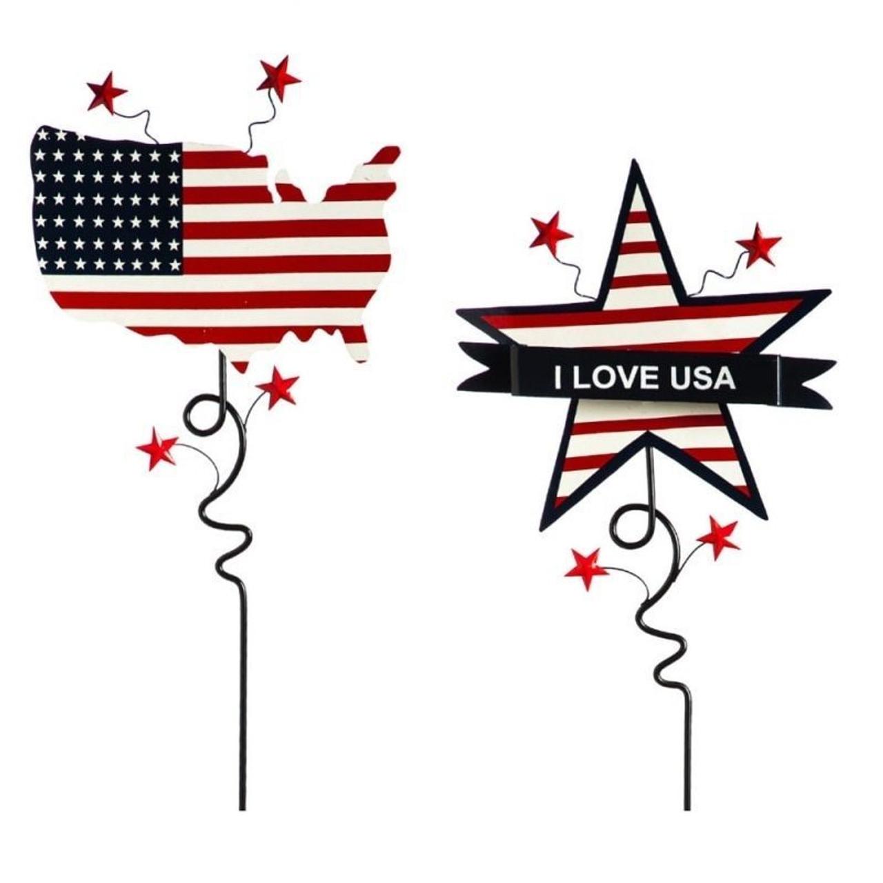 Pair of Patriotic Garden Stakes