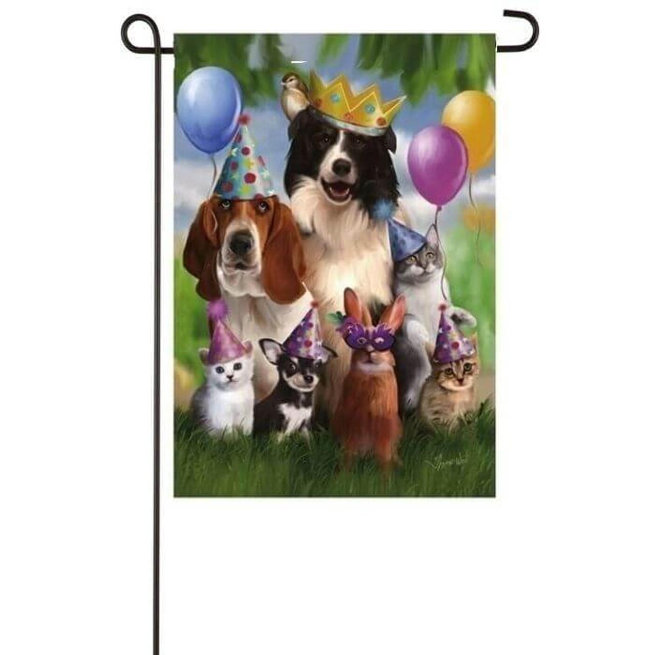 Party Animals Garden Flag