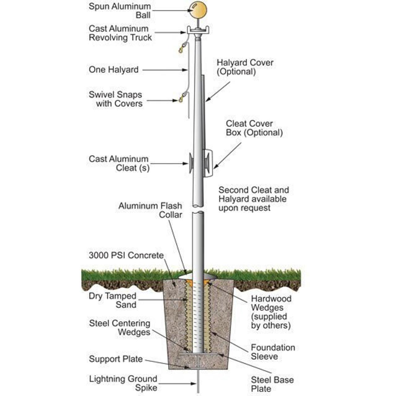 30 External Halyard Flagpole w/ Collar ECL30