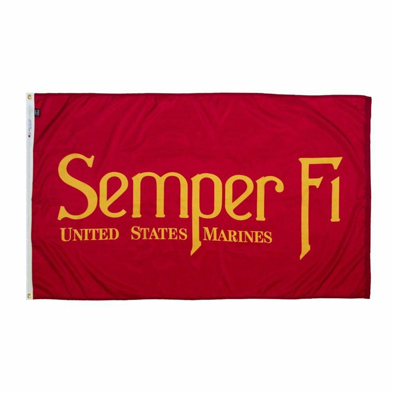 """A 3 foot by 5 foot dark red flag with """"Semper Fi"""" written across it golden yellow lettering. The flag is finished with a canvas header and brass grommets to hoist the flag on to a flagpole."""