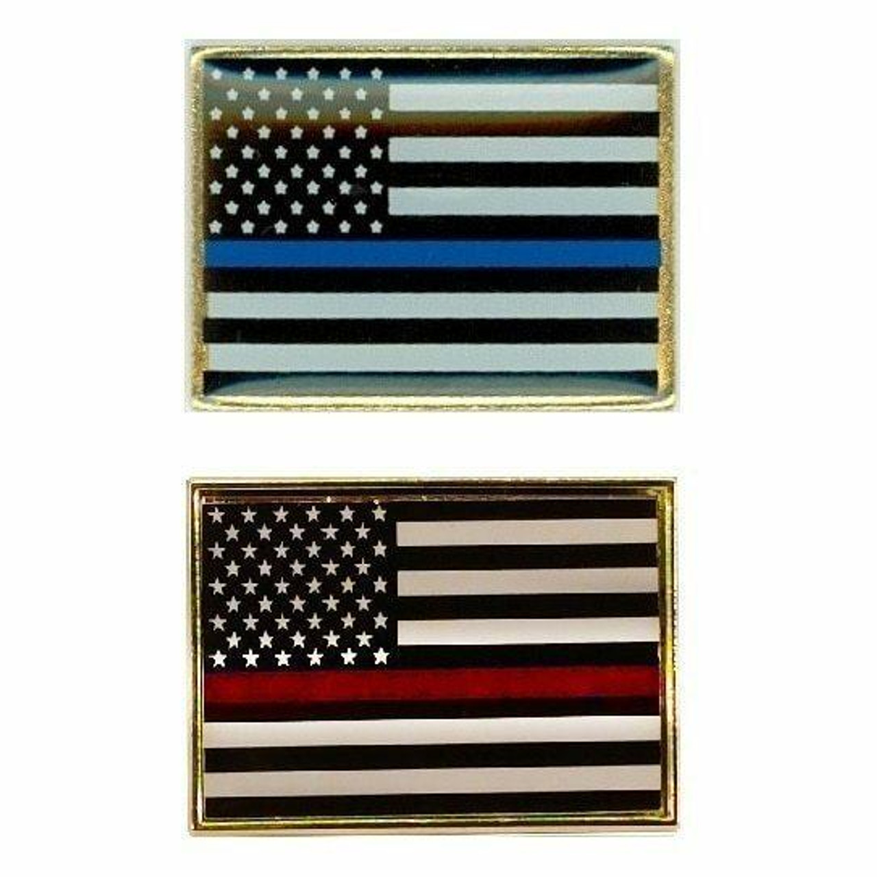 Both of our Thin Line Lapel pins are small American flags with black features instead of blue and red. The center stripe is either red for firefighters or blue for police. Each has a gold-colored border.