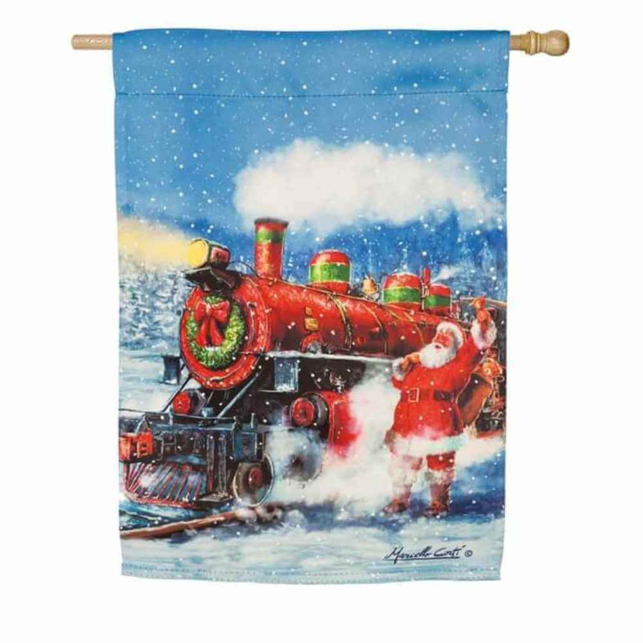 The Santa Express House Flag portrays a dynamic image of a red and green train plowing down the tracks through the freshly fallen snow past jolly Santa who rings a  bell and holds his bag of presents over his shoulder.  Under its golden beaming headlight, a green Christmas wreath topped with a red bow decorates the front of the train.