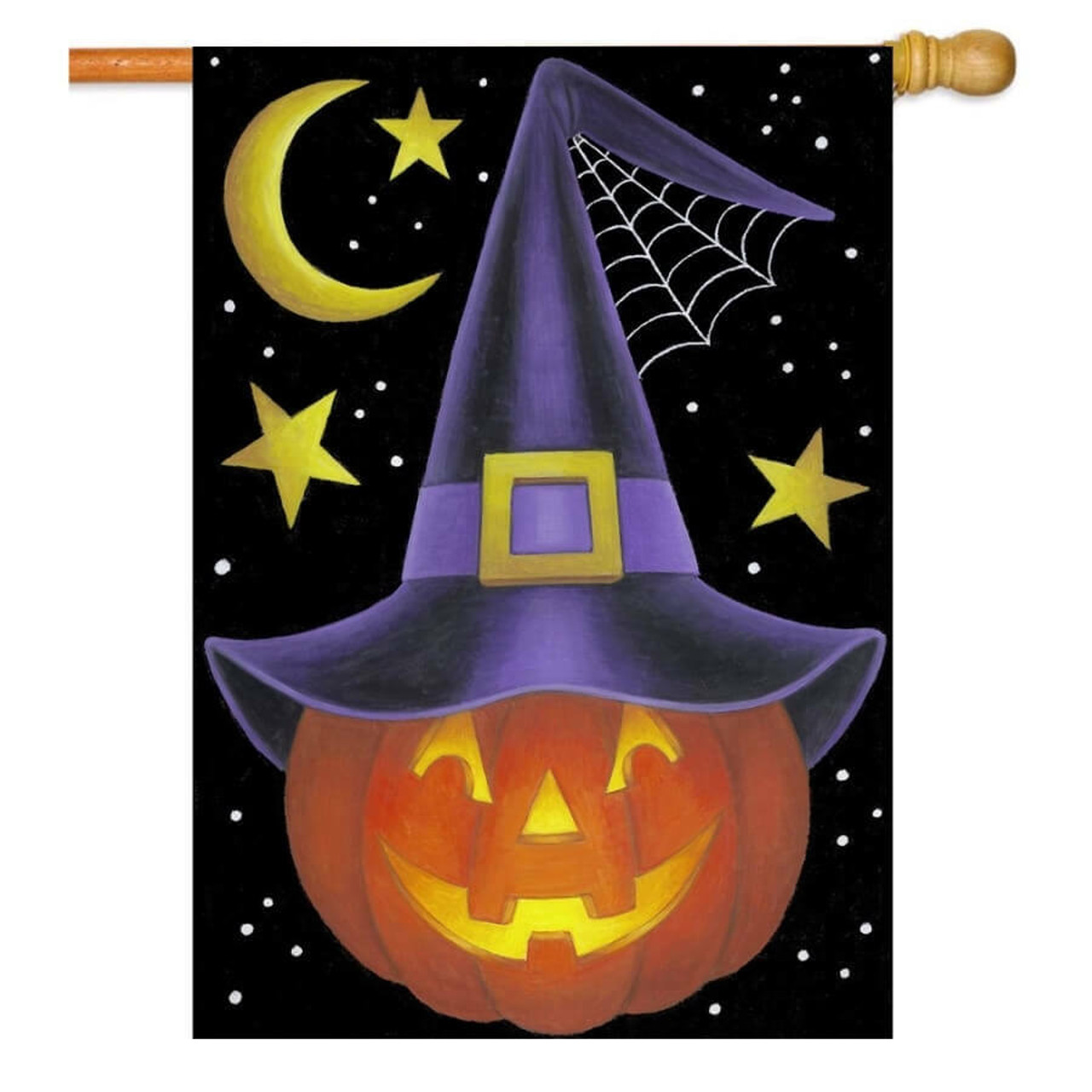 Halloween House flag with an orange jack-o'-lantern in the middle wearing a purple witch hat. The background is black with small white spots, 3 yellow stars, and a yellow crescent moon.