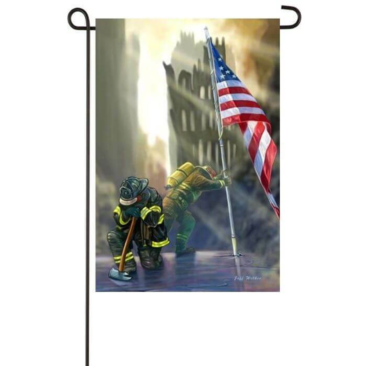 American Heroes Garden Flag with first responder holding up American Flag