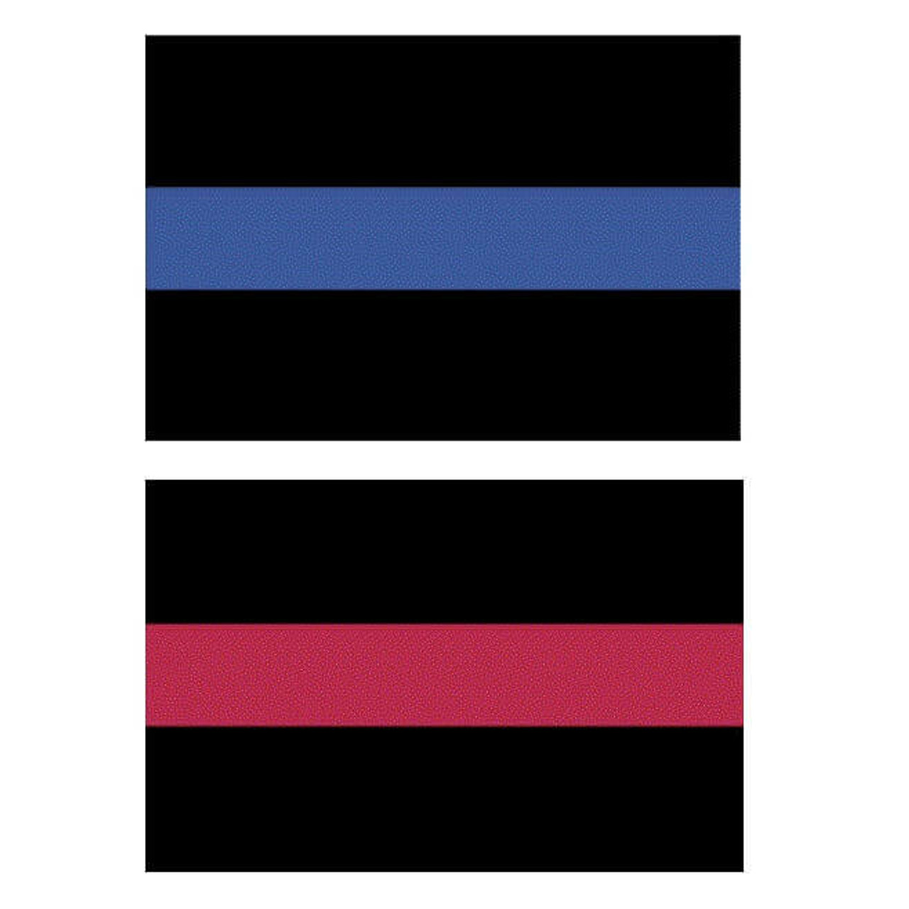 The thin line decals feature a black background with a stripe running horizontally down its center; either a small red stripe for firefighters or a thin blue stripe for police.