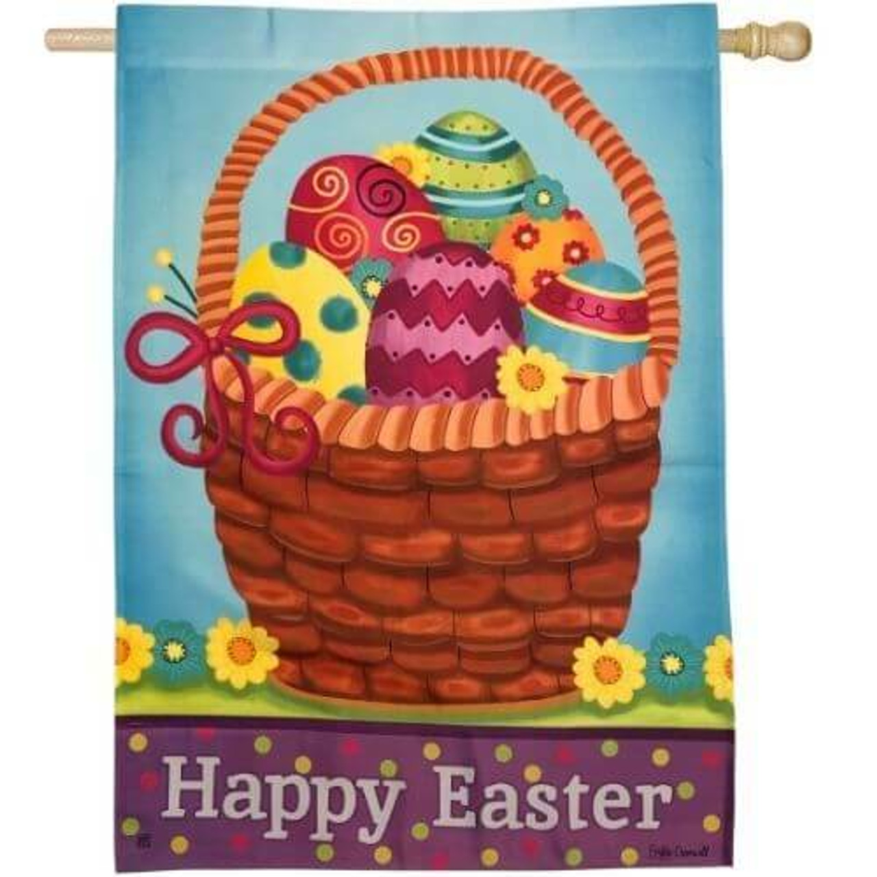 Brown weave basket with differently decorated easter eggs on bright green grass. Easter egg decoration colors are are pink, teal, orange, green, and yellow. There are yellow and teal flowers placed on the basket and background. The background is a light blue color. The words Happy Easter are written at the bottom of the flag with a purple background. There are are pink, green, and yellow polka-dots behind the text.