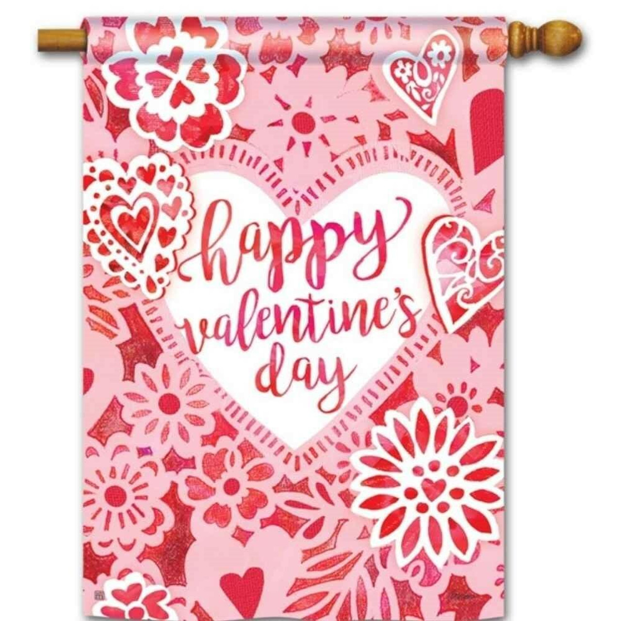 This Valentine Lace House flag has a pink background with red and white hearts and a big white heart in the center with the words Happy Valentine's Day in red lettering